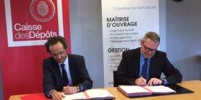 Olivier Camau, directeur régional adjoint de la Caisse des Dépôts Occitanie, et Dominique Guérin, DG de FDI Habitat, le 28 mars à Montpellier.