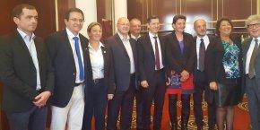 De gauche à droite : Vincent Pacoret, Jean-Luc Boch, Chrystelle Beurrier, Jérôme Merle, Christophe Marguin, Nicolas Daragon, Marie-Agnès Petit, Jean-Michel Daclin, Clotilde Fournier et Roland Bernard.