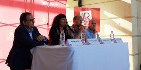 J.-M. Oluski (LR SET), M.-T. Mercier (Conseil régional), B. Carlier (Le Tremplin), et G. Janin (Horse Pilot), réunis pour le débat du 24 mai sur l'innovation dans le sport