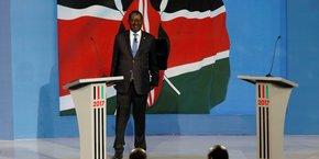 Raila Odinga, lors du débat présidentiel organisé le 24 juillet sur le plateau de la chaîne NTV et auquel le président sortant et rival d'Odinga, Uhuru Kenyatta n'a pas assisté.