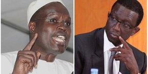 Khalifa Sall, maire de Dakar et tête de liste de Mankoo Taxawu Dakar (ici à gauche) face à Amadou Bâ, ministre des Finances et tête de liste de la coalition présidentielle