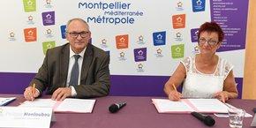 Le président d'Enedis, P. Monloubou, et la vice-présidente de M3M, E. Lloret, signent une convention-cadre de 4 ans