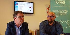 Frédéric Dumalin, directeur régional Aract Occitanie, et Nathan Poupelier, chargé de communication, le 9 octobre à Montpellier.