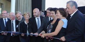 T. Le Ludec (CHU), J. Bringer (doyen honoraire), P. Pouëssel (préfet), A. Le Pellec (recteur), P. Augé (UM), M. Mondain (doyen), F. Vidal (ministre), C. Delga (Région), P. Saurel (Ville)