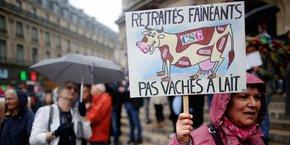 Manifestation de retraités à Paris contre la loi Travail proposée par Emmanuel Macron.