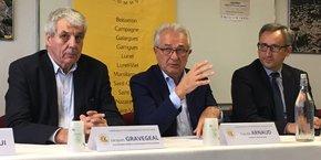 Jacques Gravegeal, vice-président de la communauté de communes du Pays de Lunel, Claude Arnaud, le président, Pascal Otheguy, sous-préfet de l'Hérault.