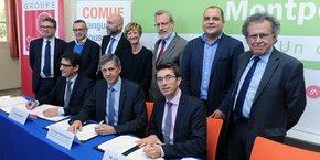 Signature de deux emprunts de la COMUE-LR avec la Caisse des dépôts et avec la BEI, le 23 octobre 2017.