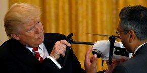Le président américain Donald Trump a rencontré plusieurs fabricants de drones, dont l'entreprise Kespry (photo) à la Maison Blanche, le 22 juin 2017.