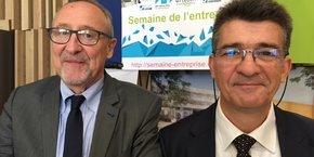 Bruno Goubet, directeur de l'IMT Mines Alès, et Pascal Dumy, directeur de l'ENSCM.