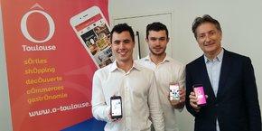 Davide Mini et Morgan Loyer,  co-fondateur de la startup Talir et Bertrand Serp, Vice-président de Toulouse Métropole en charge de l'économie numérique.