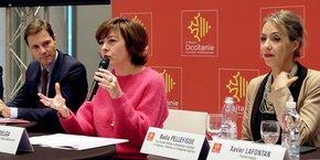 De gauche à droite : Thomas Bascaules (Agence Régionale), Carole Delga et Nadia Pellefigue (Région)
