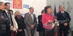 Carole Delga inaugure la station de pompage.