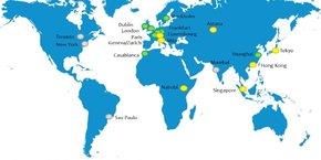 Les principales places financières vertes avec des initiatives établies (en vert), d'autres émergentes (en jaune), les autres centres actifs en gris, selon les Nations unies.