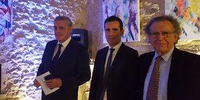 Philippe Saurel, Christophe Pérez et Max Lévita, lors des voeux de la SERM-SA3M le 17 janvier 2018.