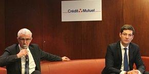 Pascal Durand, le directeur général, et Nicolas Théry, le président de la Confédération nationale du Crédit Mutuel.