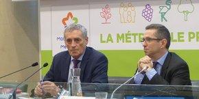 P. Saurel, président de la Métropole, et J. Despey, président de la Chambre d'agriculture 34