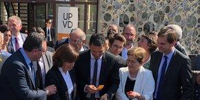 Présents lors de l'inauguration, de g. à d. : R. Grau (député), C. Delga (Région), F. Lorente (UPVD), B. Gille (rectrice)