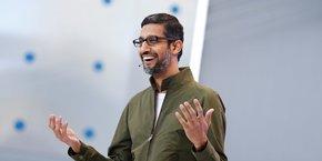 Sundar Pichai, Pdg de Google, le 8 mai 2018 à la Google I/O, conférence annuelle pour les développeurs (Moutain View, Californie).
