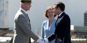 général François Lecointre, chef d'état-major des armées, Florence Parly, ministre des Armées, Emmanuel Macron, président de la République
