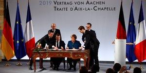 Macron, Merkel, traité franco-allemand, Aix-la-Chapelle