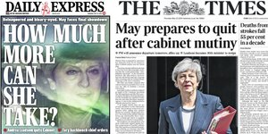 Theresa May, frontpages, Unes, quotidiens, tabloids, The Times, Daily Mirror