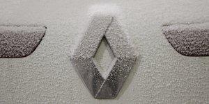 Renault, logo, hiver, neige