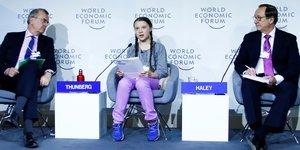 Greta Thunberg, François Villeroy de Galhau, Banque de France, John J. Haley, Willis Towers Watson, World Economic Forum (WEF)