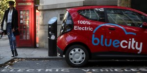 Blue City, London, electric car,