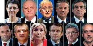 Hamon, Le Pen, Mélenchon, Arthaud, Asselineau, Fillon, Poutou, Dupont-Aignan, Cheminade, Lassalle, Macron, présidentielle 2017,