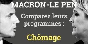 Chômage, Macron, Le Pen, programmes comparaison, présidentielle 2017, 2e tour, France,