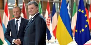 Le président du Conseil européen, Donald Tusk, rencontre le président ukrainien Petro Poroshenko à Bruxelles, en Belgique, le 22 juin 2017.