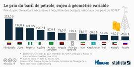 Pétrole, Statista, prix du baril, selon pays OPEP