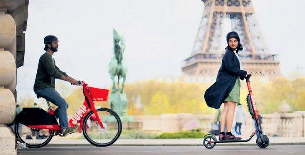 Uber, Jump, vélo en libre service, trottinette, mobilité