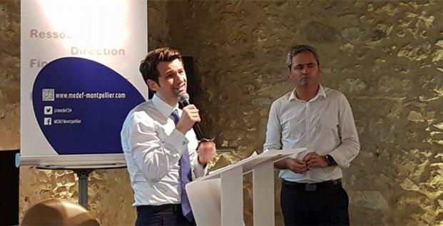 Samuel Hervé (Medef Hérault Montpellier) et Fabrice Le Saché (vice-président Medef) le 26 juin 2019