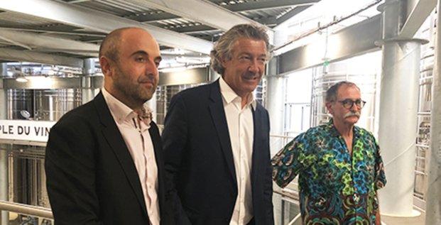 Frédéric Saccoman, nouveau directeur de la cave d'Héraclès, Gérard Bertrand et Jean-Fred Coste, président Héraclès