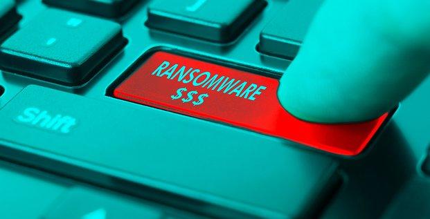 Cybersécurité, ransomware, illustration, clavier, ordinateur, piratage, hacker