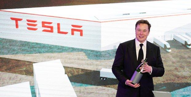 Elon Musk, patron de Tesla, lors de la cérémonie d'ouverture du programme Model Y de Tesla en Chine à Shanghai.