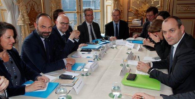Laurent Berger, secrétaire général de la CFDT, assiste à une rencontre en présence du premier ministre Edouard Philippe, le 10 janvier 2020, au 37e jour de grève contre le projet de réforme des retraites