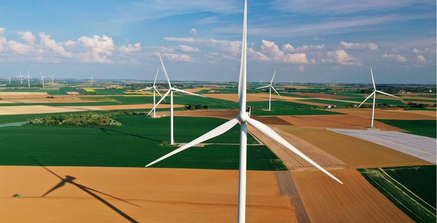 éolienne, france, champs