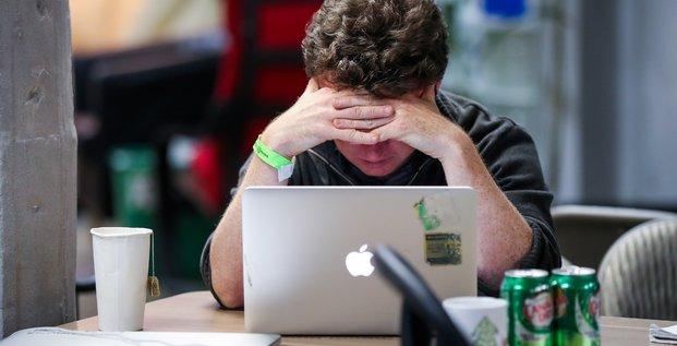 travail, bureau, concentration, ordinateur