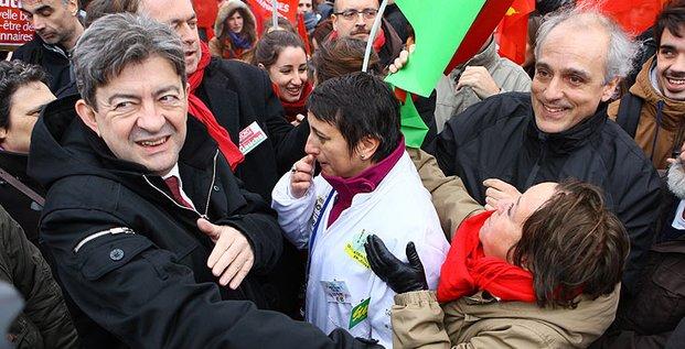 Jean-Luc Mélenchon, Front de gauche, et Philippe Poutou, NPA, étaitent à Toulouse pour soutenir les salariés de Sanofi dans le cadre des jeudis de la colère