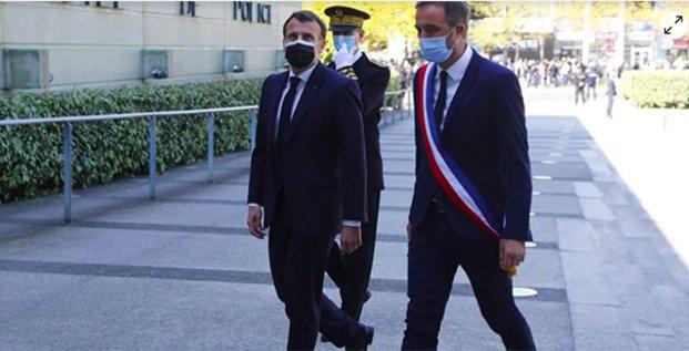 E. Macron et Michaël Delafosse à Montpellier le 19 avril 2021
