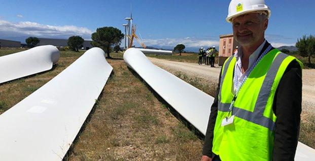 Nicolas Fléchon, directeur de GEG ENeR, sur le chantier de repowering du parc éolien de Rivesaltes (66)