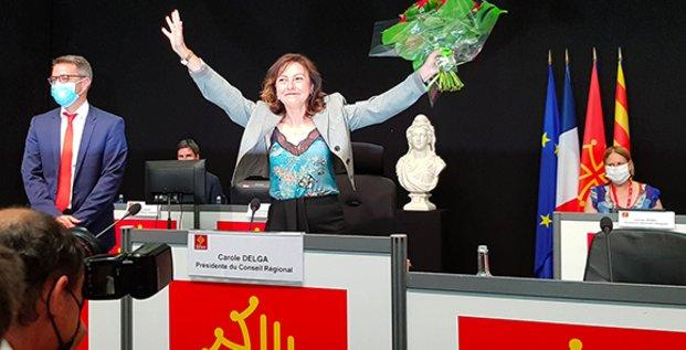 La socialiste Carole Delga réélue présidente lors de l'assemblée plénière du Conseil régional d'Occitanie le 2 juillet 2021