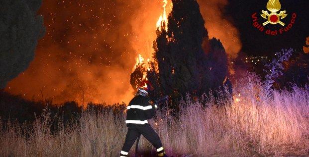 Italie, Sicile, incendies