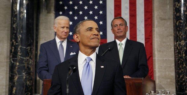 Barack Obama devant le Congrès à Washington, en janvier 2014.