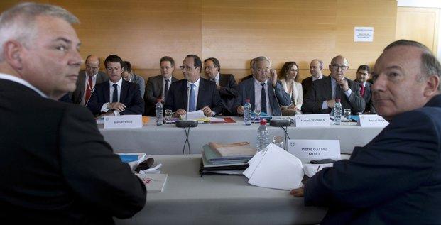 Lepaon, Gattaz, Valls et Hollande à la conférence sociale