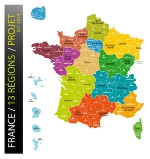 Gouvernement Carte de France à 13 régions