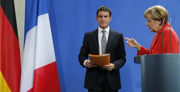 Angela Merkel et Manuel Valls en conférence de presse à Berlin