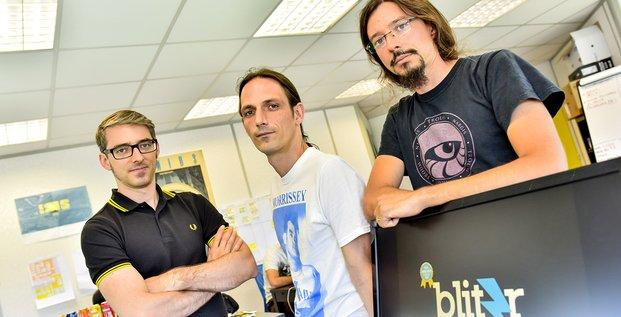 Bertrand Sébenne, Pierre Anouilh et Johan Sébenne, cofondateurs de BlitzR